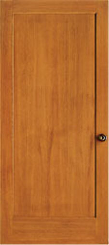 1 panel flat mission shaker hemlock stain grade solid core for Flat solid wood door