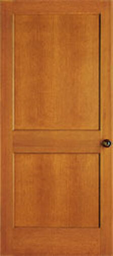 2 panel flat mission shaker hemlock stain grade solid core for Flat solid wood door