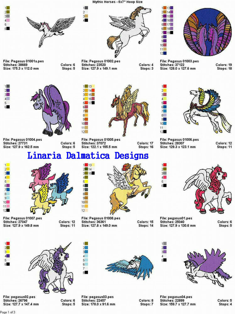 Mythic horses unicorns 5x7 multi format machine for Embroidery office design version 7 5