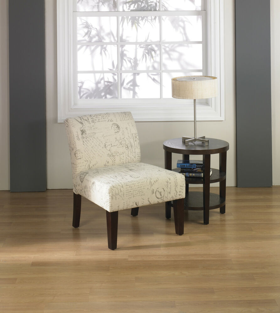armless accent chairs living room avenue six laguna script print fabric living room lounge 20499