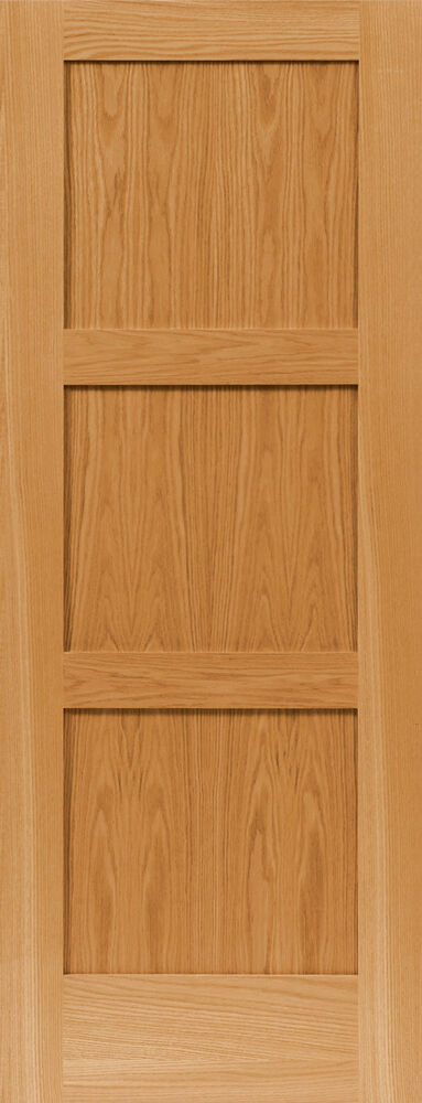 3 panel equal flat contemporary shaker red oak solid core
