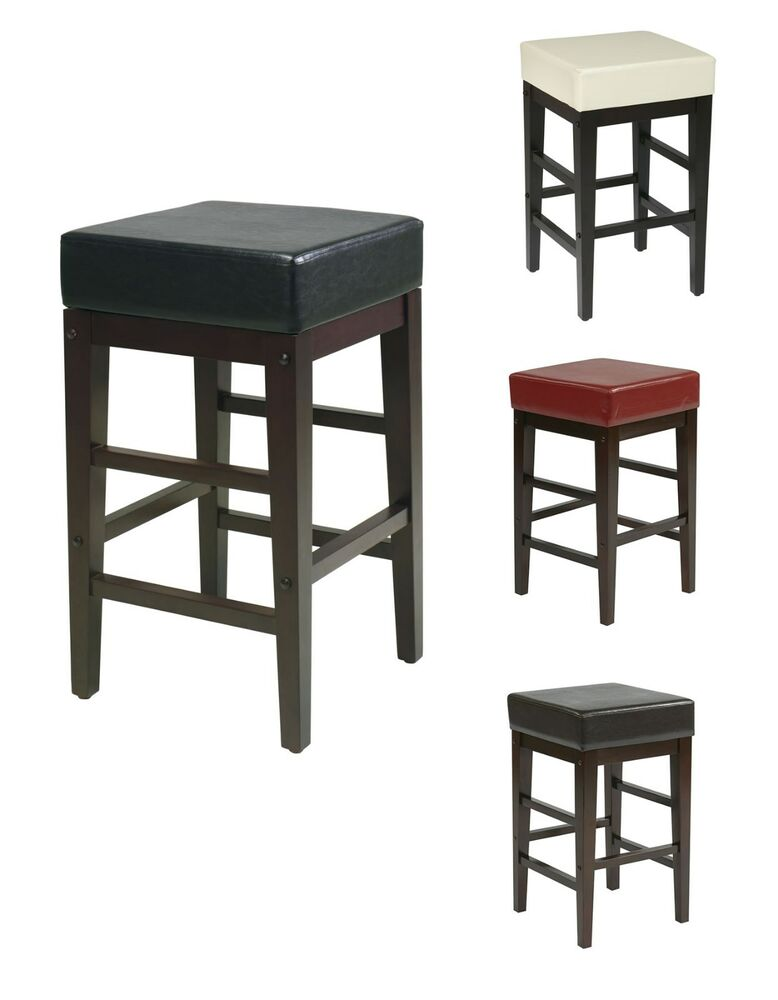 faux leather seat 25h square bar wood counter stool backless chair es25vs3 ebay. Black Bedroom Furniture Sets. Home Design Ideas