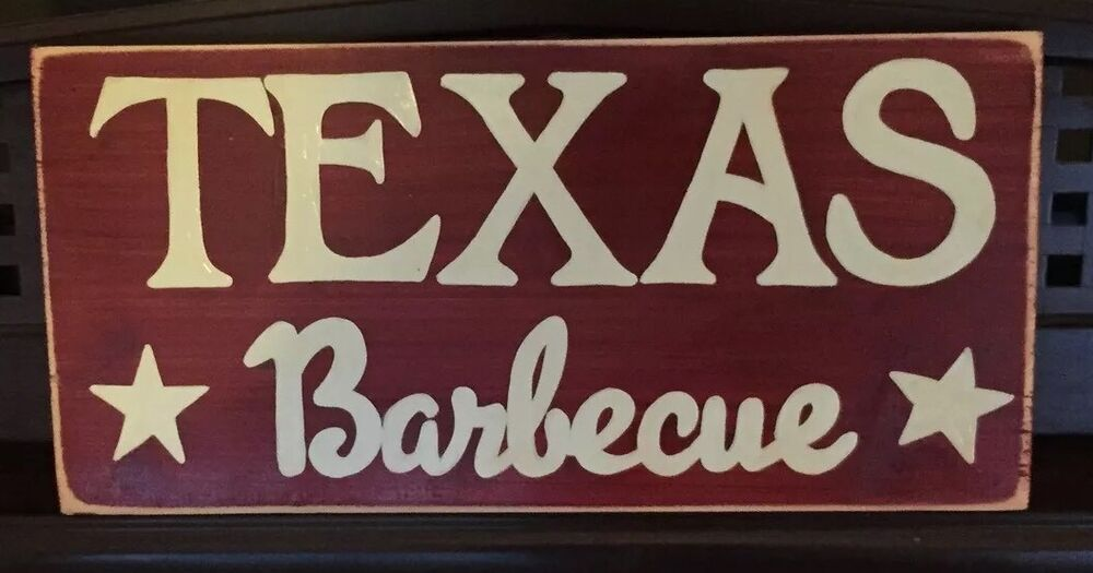 texas bbq barbecue sign rustic style outdoor coooking decor hp wood u pick color ebay. Black Bedroom Furniture Sets. Home Design Ideas