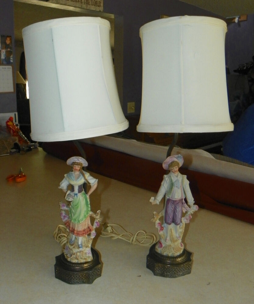 Pair Of Porcelain Country Man Amp Woman Figure Lamps With