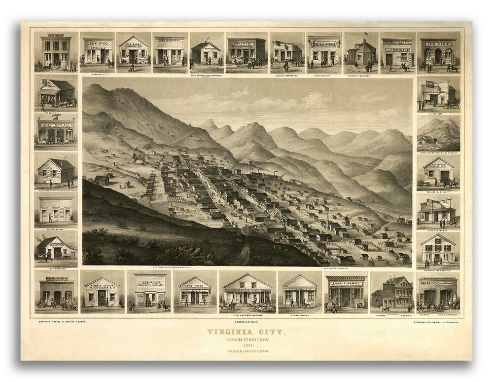 Bird 39 s eye view 1861 virginia city nv old city map 24x32 for Colonial reproduction homes for sale