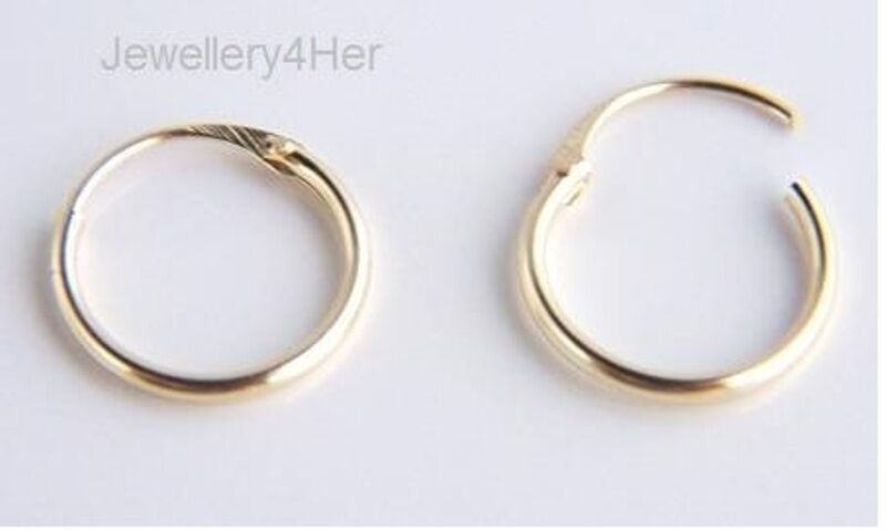 9ct Gold Tiny Small Plain 10mm Top Half Hinged Hoop