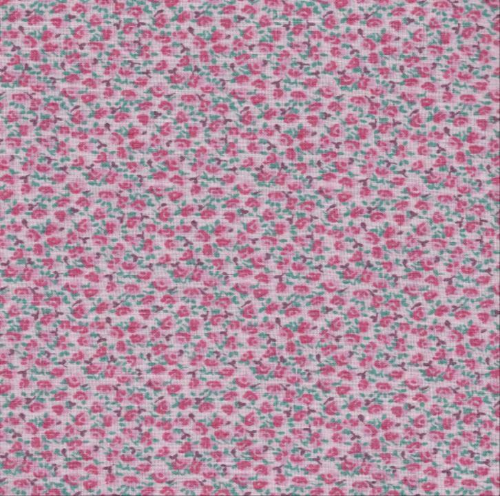 Craft Fabric Qc67 Pink Floral Calico Looks Like The Old