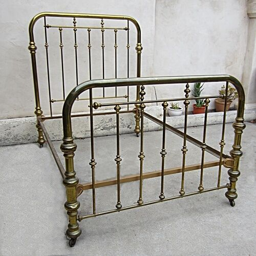 Queen Size Metal Bed Frame Gold Wheels
