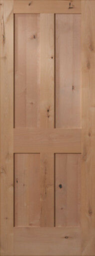 4 panel flat shaker knotty alder stain grade solid core for Flat solid wood door