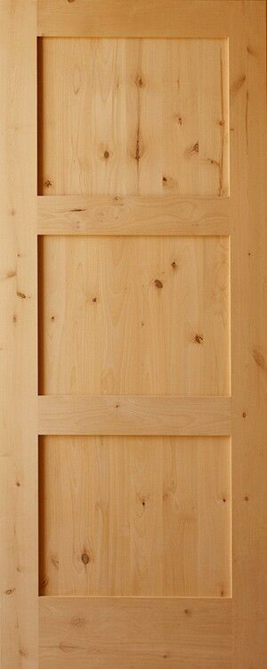 3 panel flat shaker knotty alder stain grade solid core for Solid wood panel interior doors