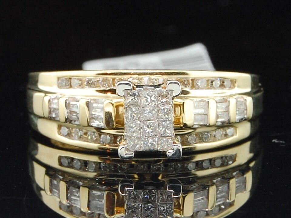 La s 10K Yellow Gold Princess & Round Cut Diamond Engagement Ring Weddi