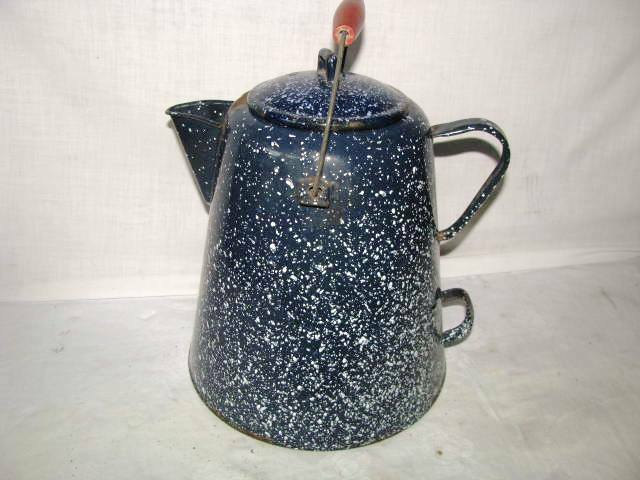 Vintage Graniteware Coffee Pot Pitcher Enamelware Cobalt