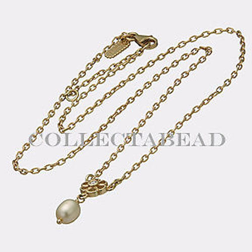 authentic pandora 14kt gold pearl necklace