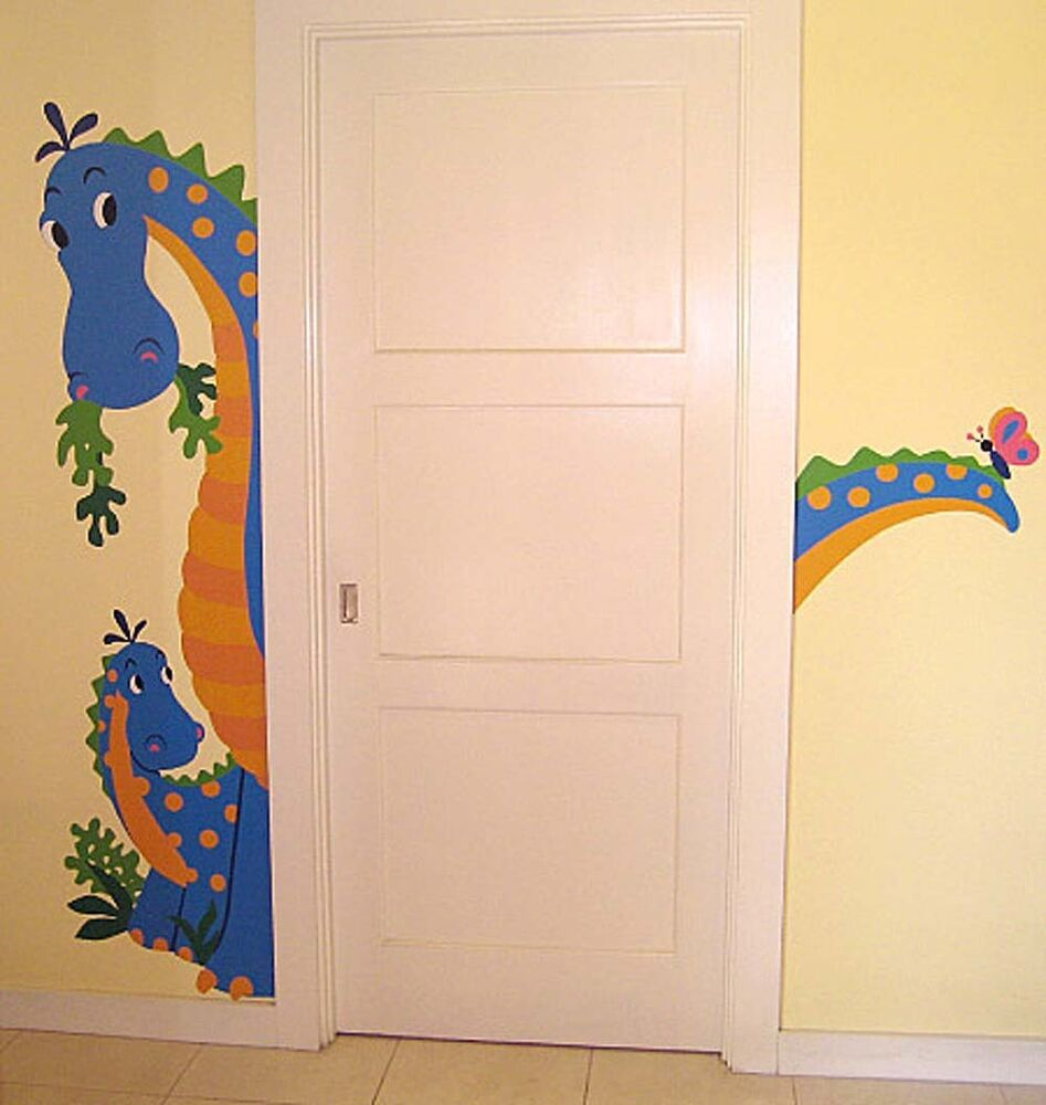 Dinosaur friendly dino door hugger removable peel stick for Door mural stickers