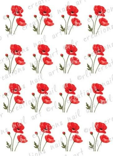 20 Red Poppies Flower Nail Decals Poppy Water Slide Nail
