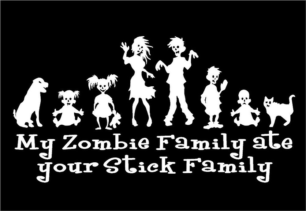 Zombie family decal my family ate your stick family funny car vinyl sticker ebay