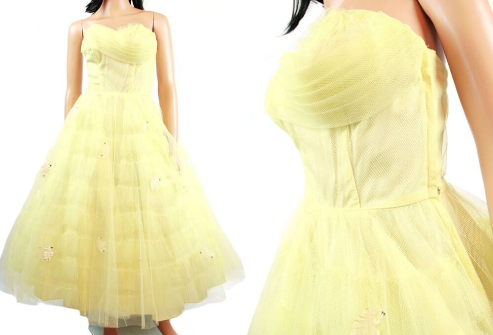 Vintage 50s Yellow Strapless Prom Dress XS Wedding Gown