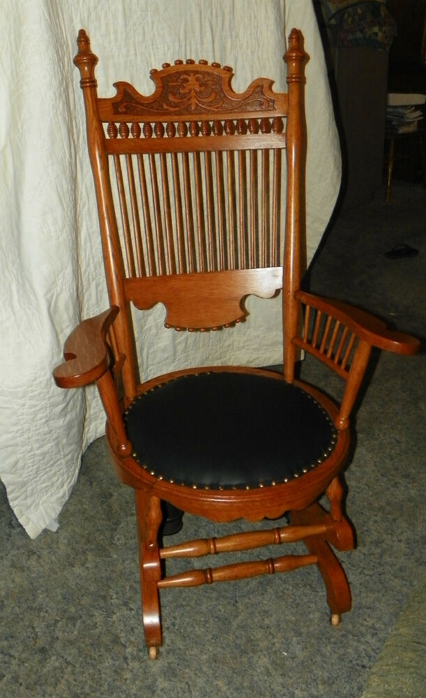 Oak Carved Spindle Back Rocker Rocking Chair with black