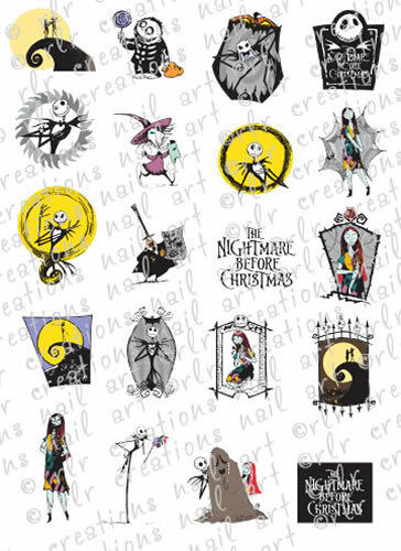 20 NIGHTMARE BEFORE CHRISTMAS WATER SLIDE NAIL ART DECALS ...
