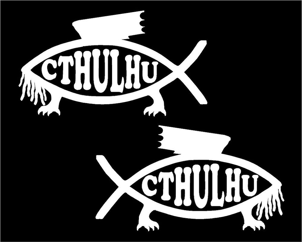 Cthulhu fish decals set of two car truck window laptop for Fishing stickers for trucks