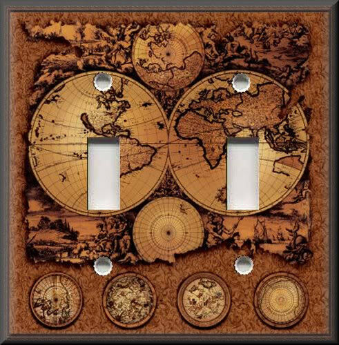 Light Switch Plate Cover - Vintage - World Map - Brown - Travel Home Decor eBay