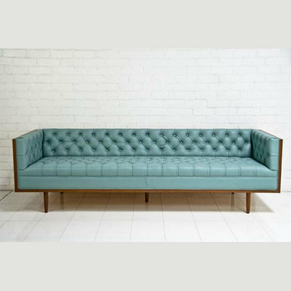 Celebrity chesterfield pale blue leather sofa ebay for Sofa capitone baratos