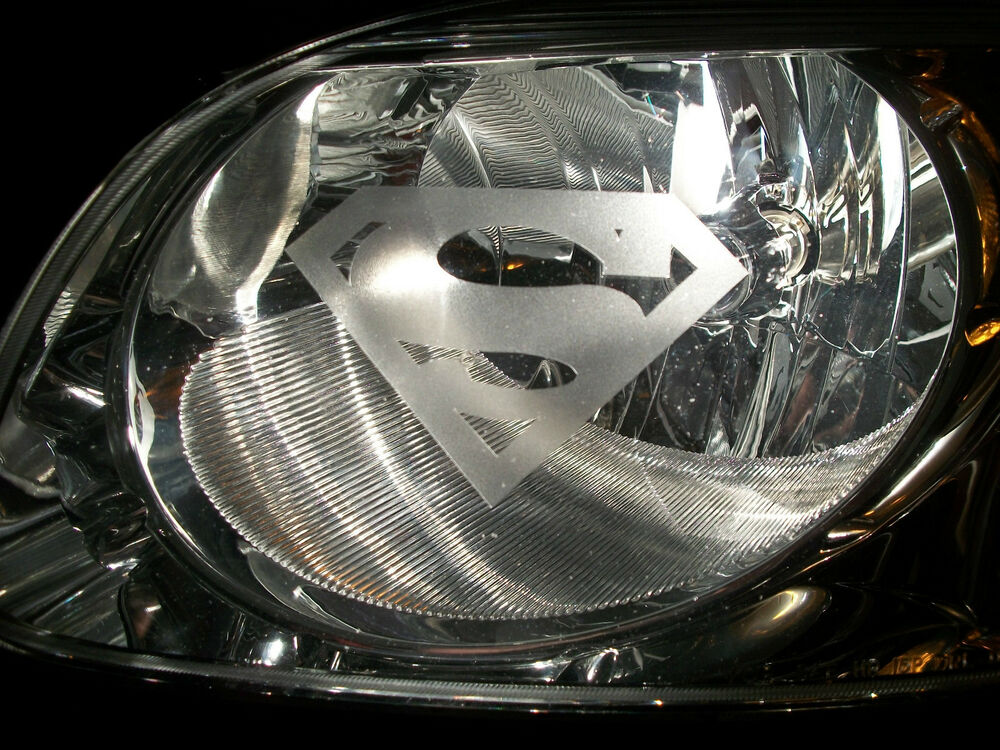 """Superman Car Accessories: SUPERMAN """"S"""" Chevy Headlight Tail Light ETCHED Glass"""