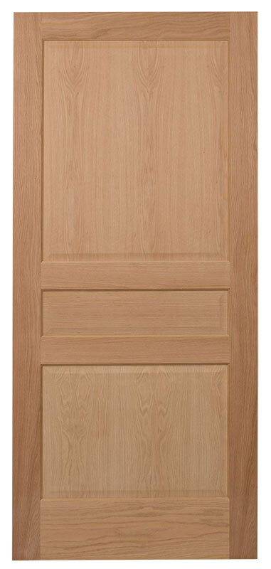 3 panel raised panels red oak stain grade solid core interior wood doors new ebay for Solid wood panel interior doors