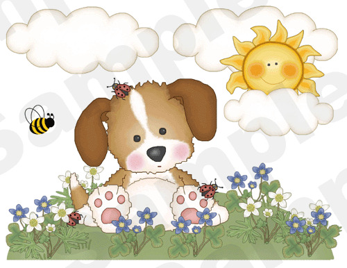 Puppy Dog Butterfly Ladybug Baby Nursery Childrens Wall