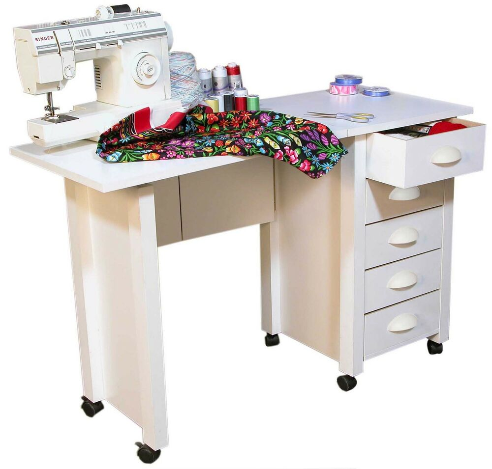 Mobile Folding Desk Sewing Machine Craft Table Home Sewing