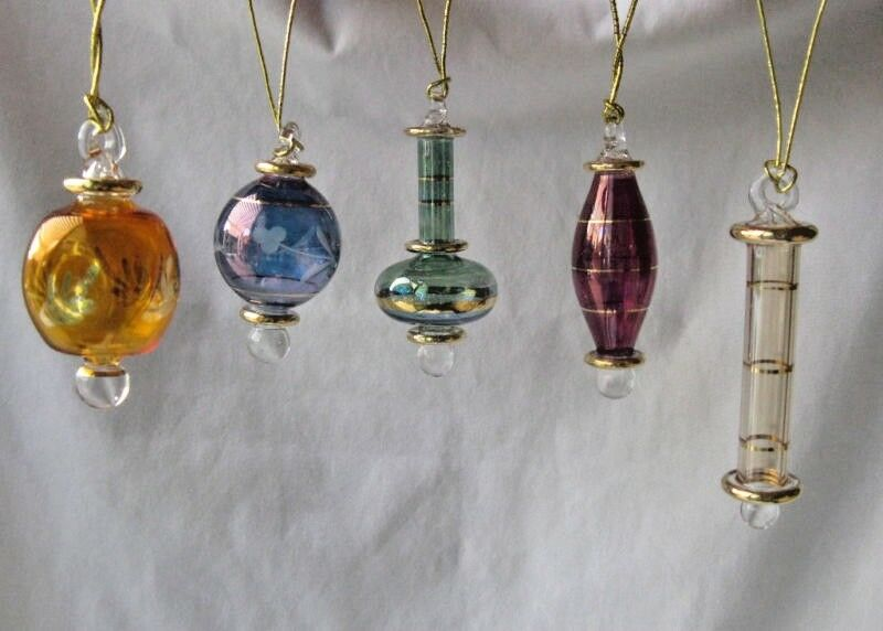 Egyptian handmade glass christmas ornament set