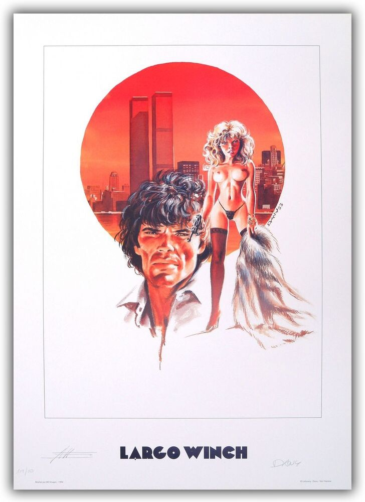 affiche bd dany poster largo winch twin towers 150ex num sign 50x70 cm ebay. Black Bedroom Furniture Sets. Home Design Ideas