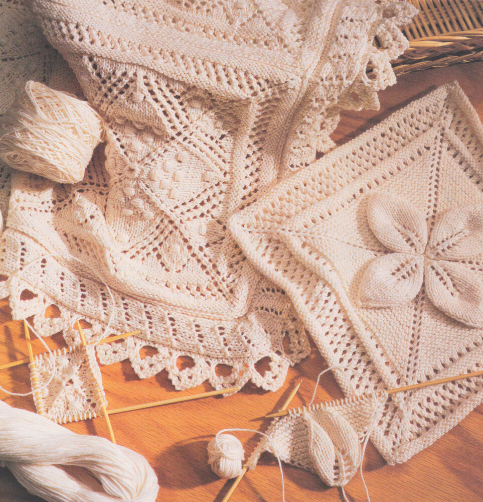 Knitting Edges For Baby Blankets : Cotton lace or leaf squares edging bedspread cushion