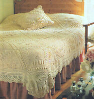 Beautifully Textured Bedspread & Matching Cushion & Border 4 ply Cotton To Knit