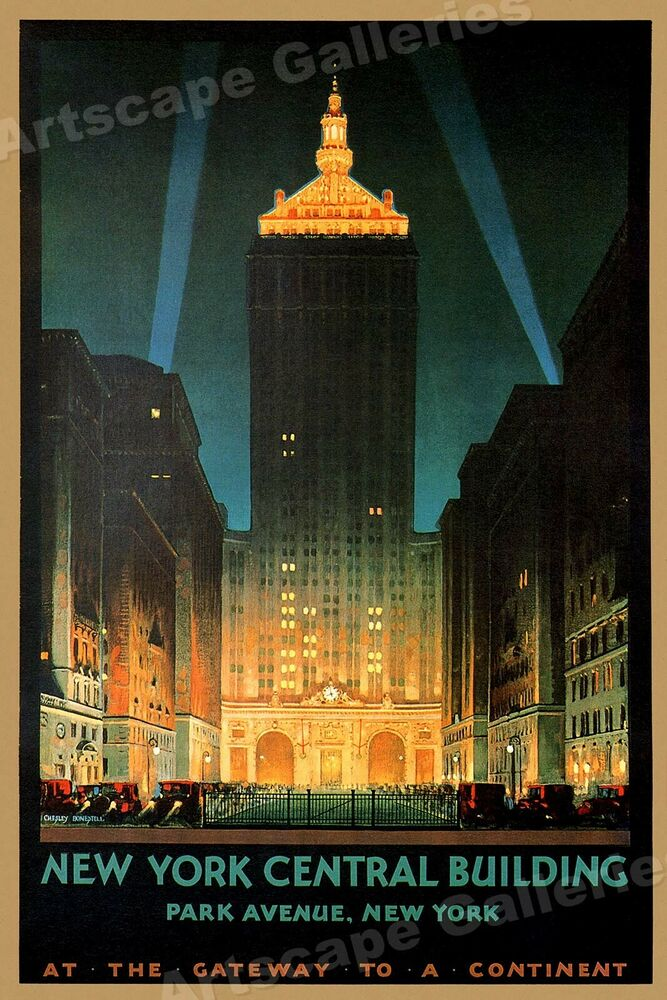 new york central building park avenue 1930s vintage style travel poster 24x36 ebay. Black Bedroom Furniture Sets. Home Design Ideas