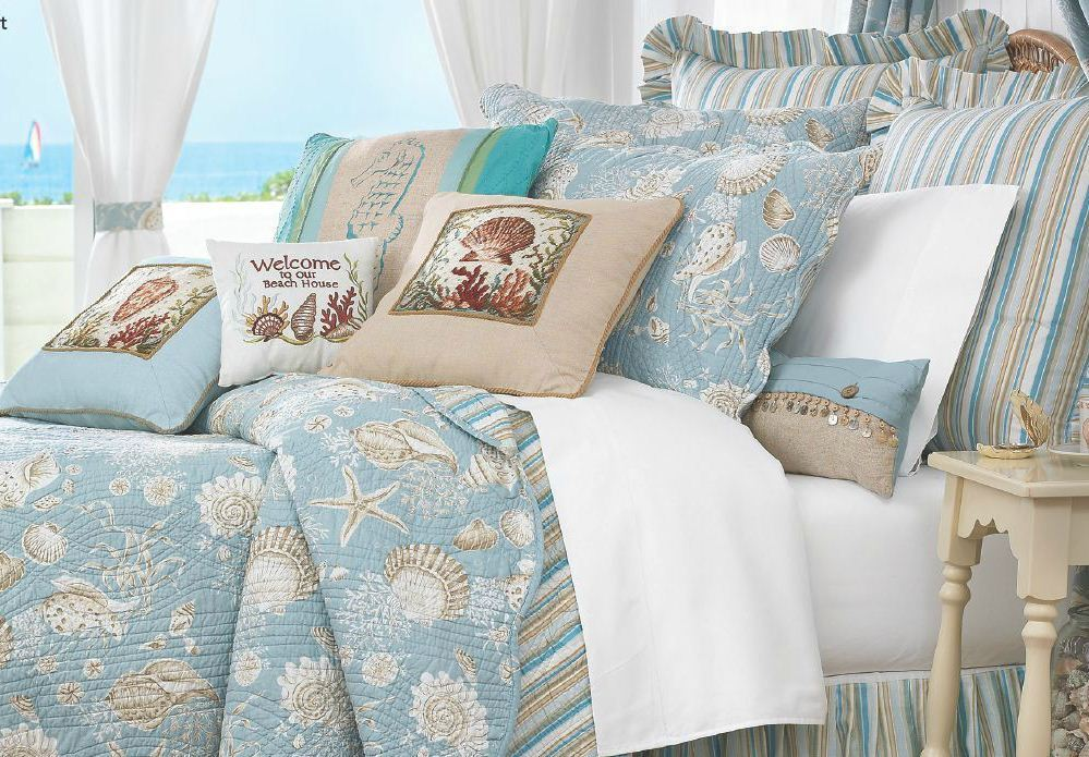 Natural Shells 5pc King Quilt Set Aqua Green Tropical