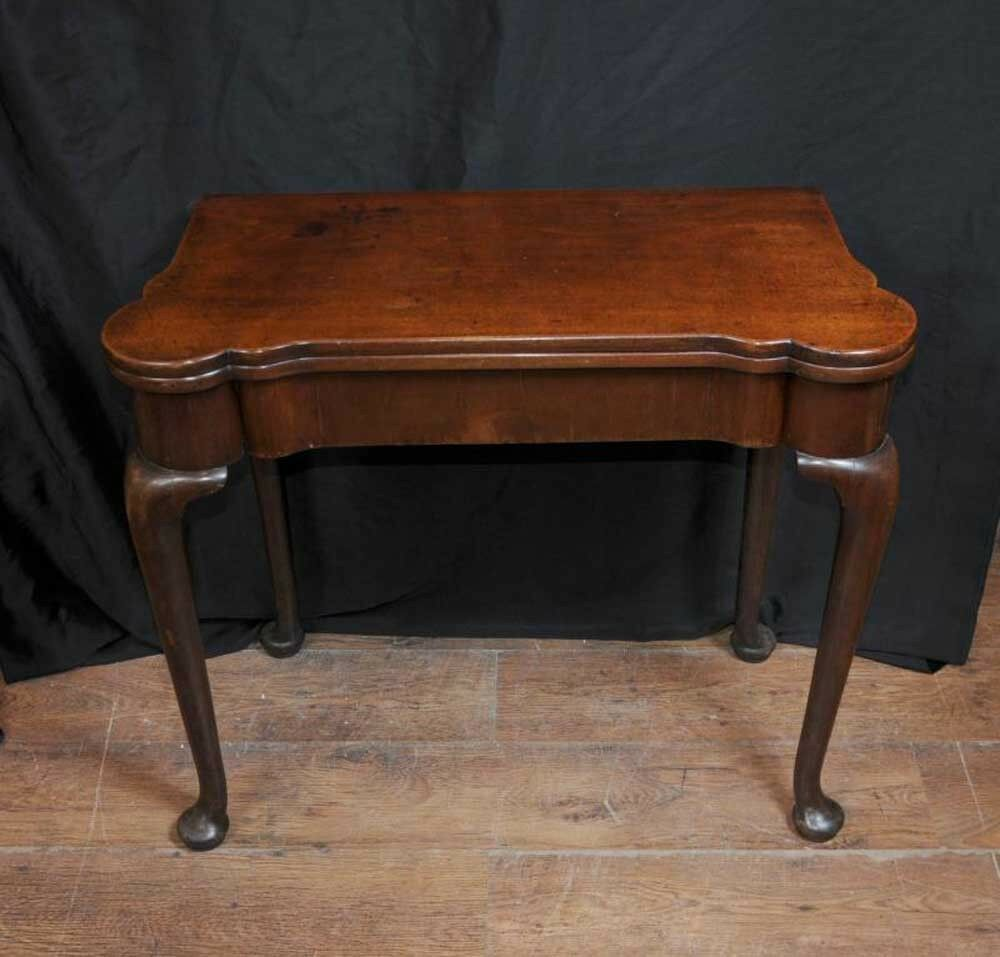 Antique Queen Anne Card Table Mahogany Tables Games Ebay
