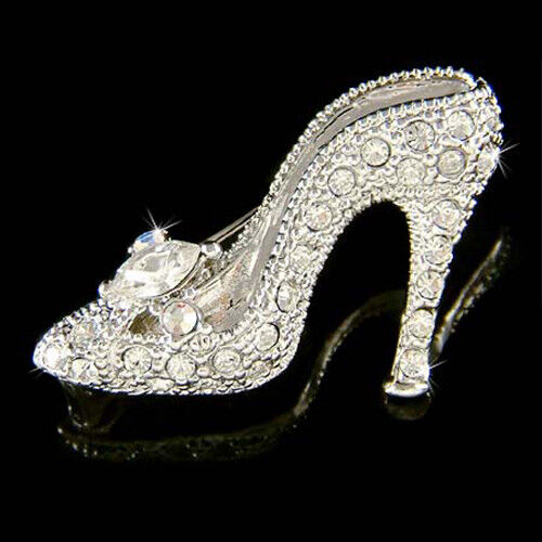 Glass Silver High Heel Shoes Figurine