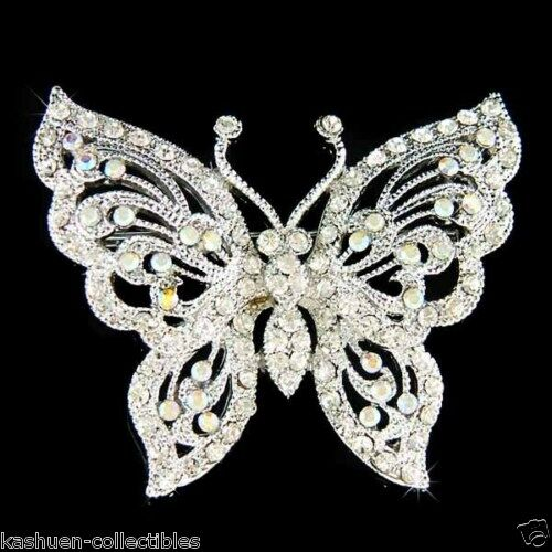 W Swarovski Crystal Butterfly Bridal Wedding Jewelry Sash