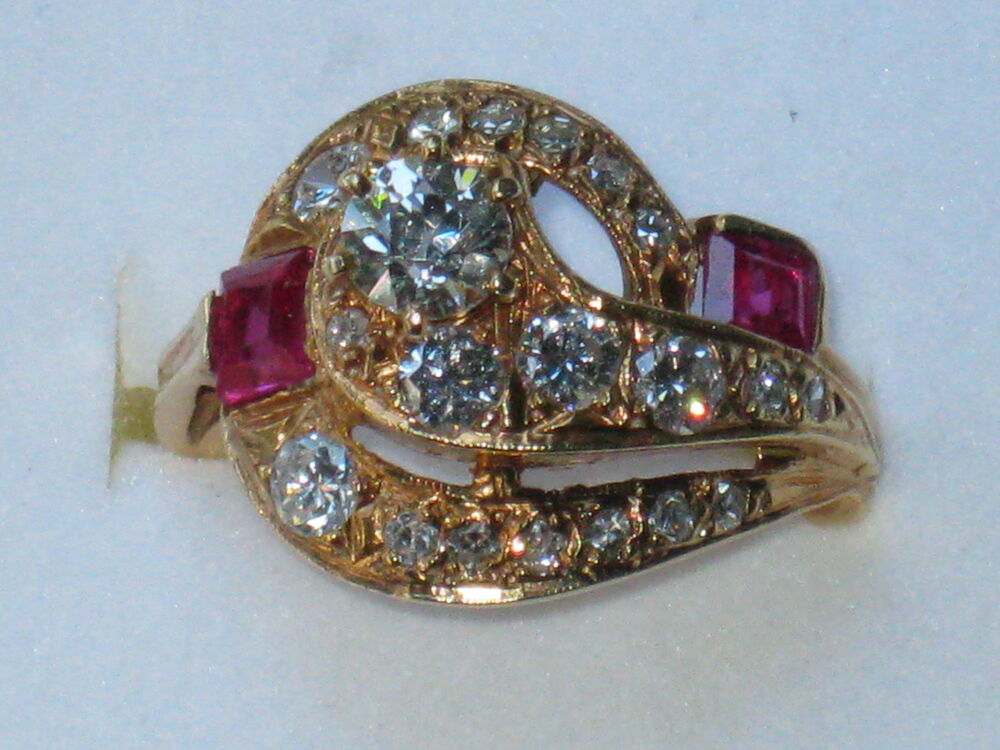 Fabulous Vintage Antique 14k Yellow Gold Diamond Ruby Ring