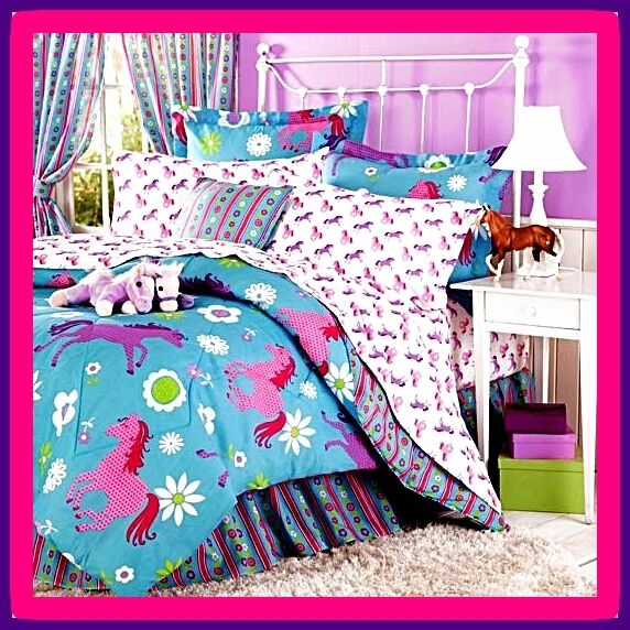 girl pony horse full double size 11pc comforter sheet set bed in a bag valances ebay. Black Bedroom Furniture Sets. Home Design Ideas