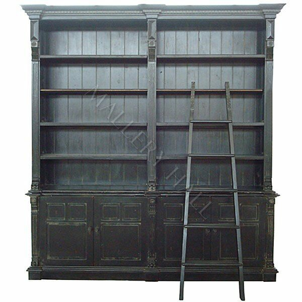 Black Country Double Library Bookcase With Ladder One Left