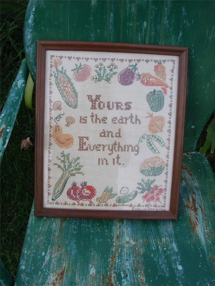 Vintage hand embroidery cross stitch sampler reyours is