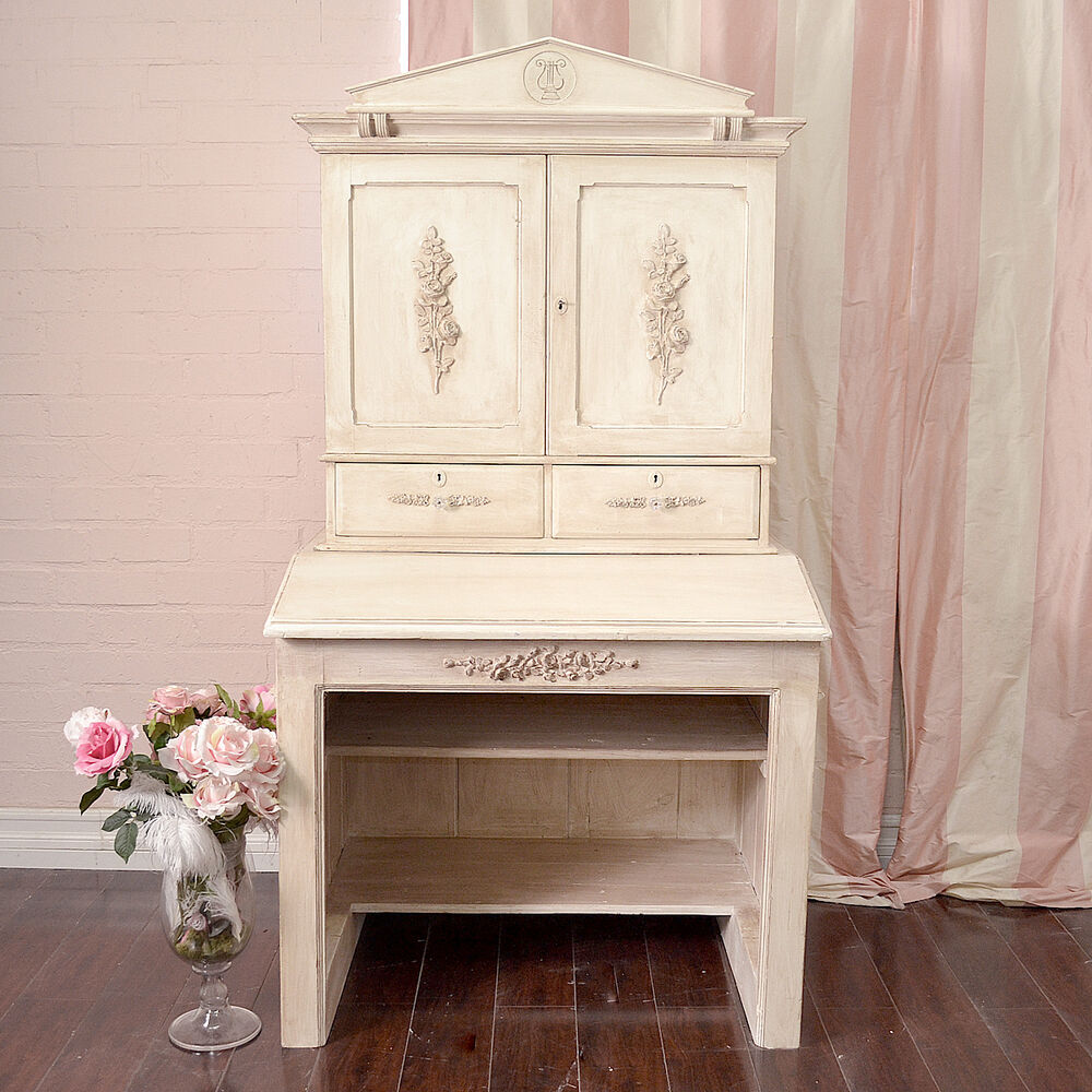 shabby cottage chic vintage style cream writing desk hutch large cabinet ebay. Black Bedroom Furniture Sets. Home Design Ideas