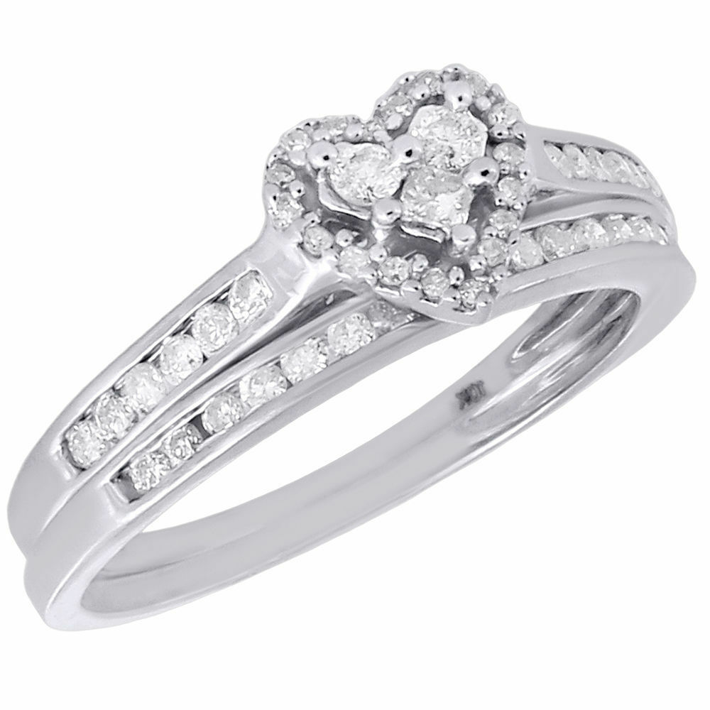10k white gold wedding bridal set princess diamond heart for Ebay diamond wedding ring sets