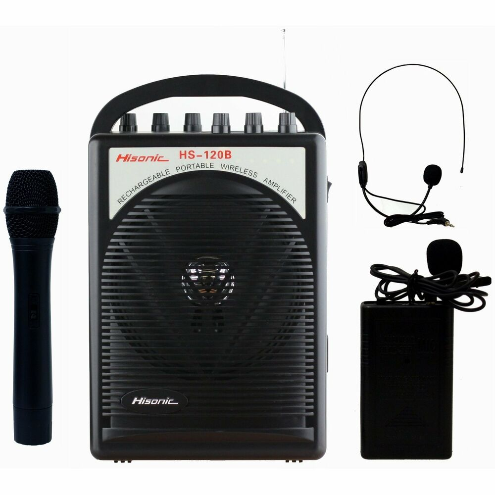 hisonic hs120b portable speaker system with wireless microphones black ebay. Black Bedroom Furniture Sets. Home Design Ideas