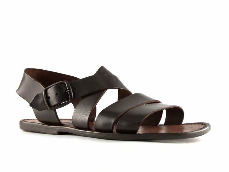 Handmade Mens Flat Strappy Sandals In Dark Brown Leather