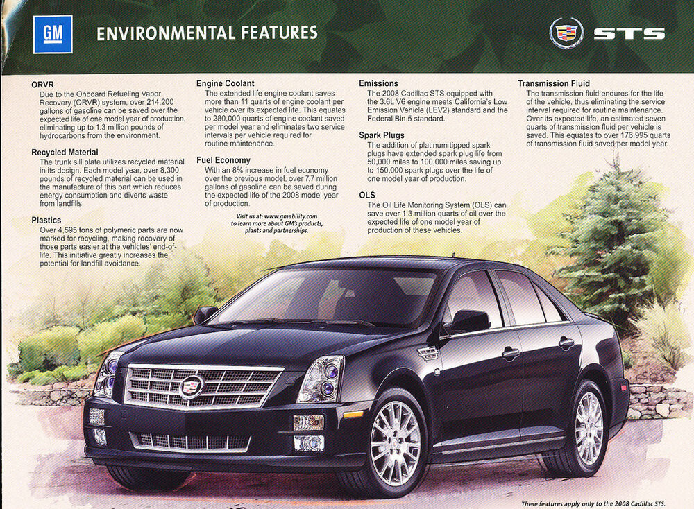 2008 cadillac sts environmental features brochure fact. Black Bedroom Furniture Sets. Home Design Ideas