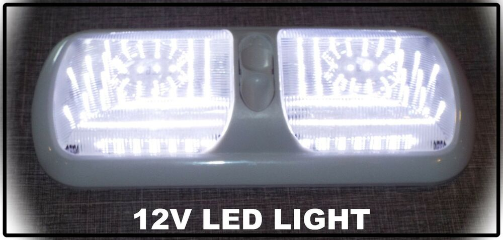 12V LED DOUBLE PANCAKE LIGHT W/ ON / OFF SWITCH CLEAR LENS ...