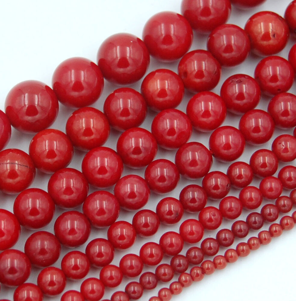 """Red Natural Coral Gemstone Round Spacer Beads 15.5"""" 2,3,4 ..."""